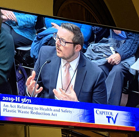 Rhode Island Clean Water Action Director Johnathan Berard testifying at the State Capitol regarding H 5701, which would ban single-use plastic checkout bags in Rhode Island.